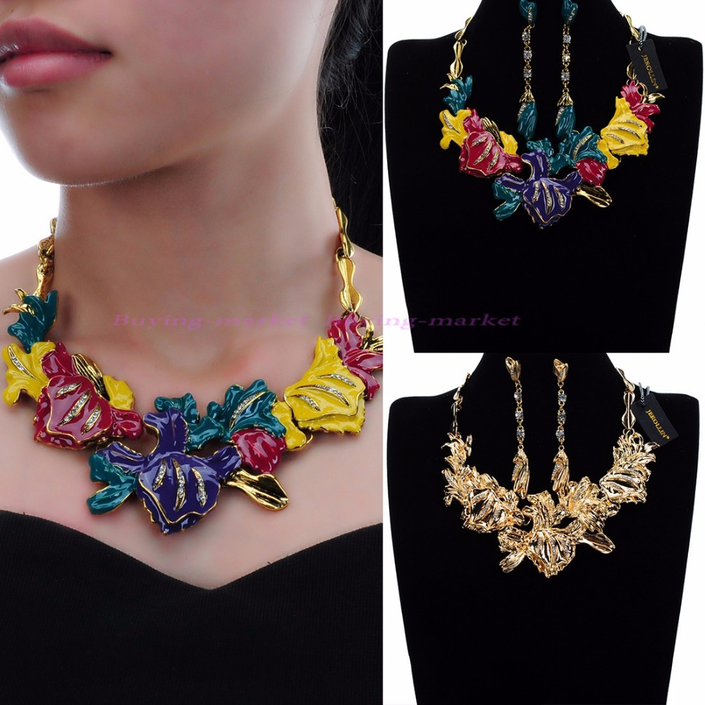 Womens Gold Charm Flower Chain Bib Statement Choker Collar Necklace Earrings Set