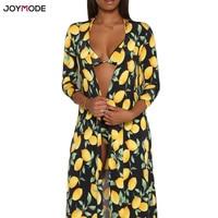 JOYMODE Three Piece Bathing Suit Women Bandage Print Sexy Bikini Beach Cover Up Long Sleeves 3