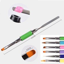 UV Poly Gel Nail Brush Dual-ended Slice Shape Nylon Hair Flat Pusher or Dotting Tips Extension Building Art Tool