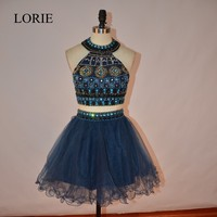 Sexy Navy Blue Short Prom Dresses 2017 LORIE Vestidos de baile Crystals Beaded Girls Formal Pageant Party Dresses For Graduation