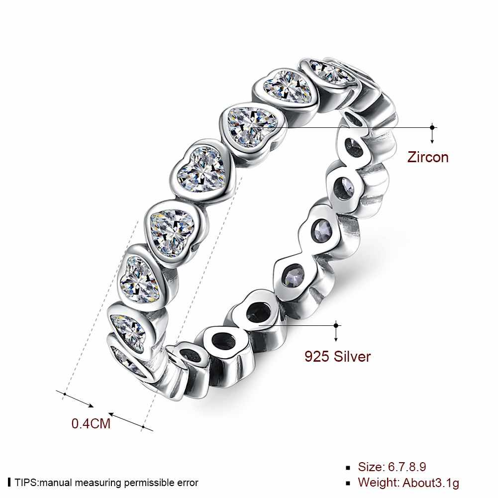 b67fe5403 ... Authentic 925 Sterling Silver Pan Ring Forever More Love Heart With  Crystal Rings For Women Wedding ...