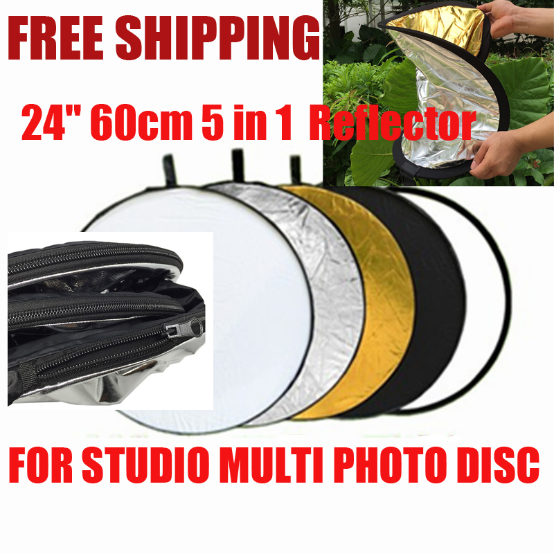 43 110 cm /32 80cm/24 60cm 5 In 1 5 Colors Portable Collapsible Light Round Photography Reflector for Studio Multi Photo Disc