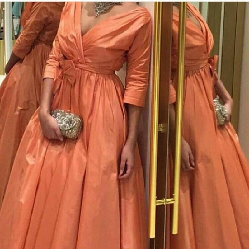 Élégant trois quarts robes De soirée formelles col en V Bow robes De soirée Robe De soirée