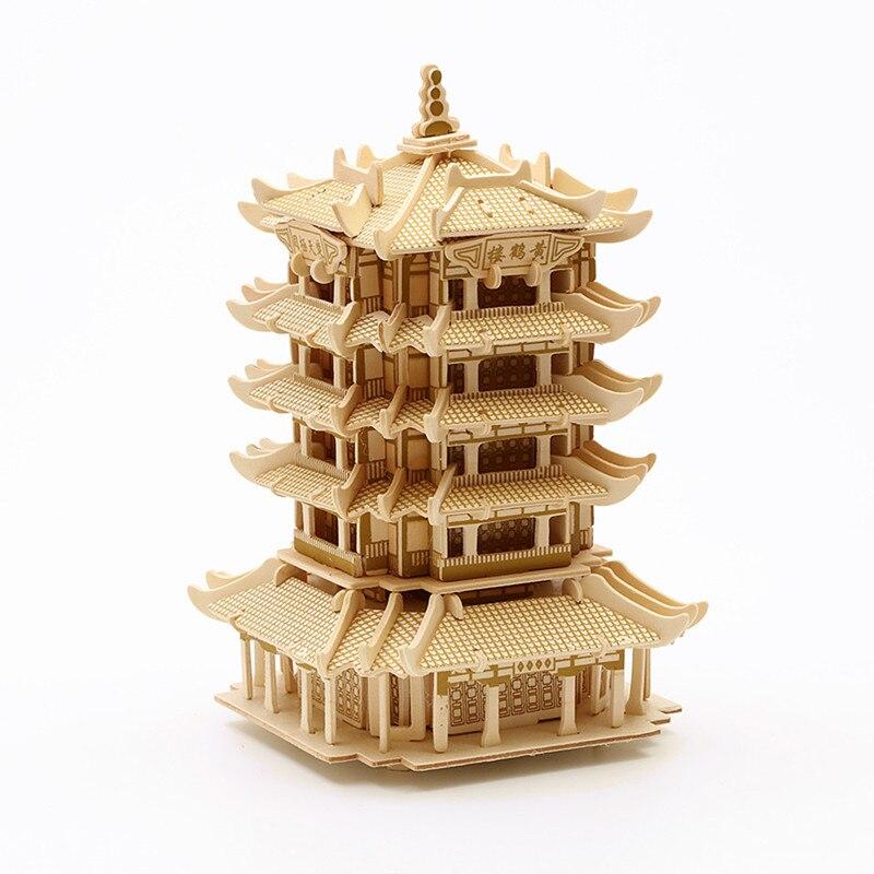 Strereo mosaïque bois Puzzle 3D haute difficulté Puzzle en bois bâtiment artisanal modèle bois bricolage artisanat - 5