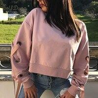 Self Duna 2017 Autumn Women Short Lace Up Sweatshirt Pink Loose Casual O Neck Elegant Female Crop Top Sexy Hoodie Sweatshirt