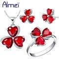 Almei 40% Серебряный Красный/Фиолетовый Клевер CZ Алмазные Ювелирные Наборы Женщины Хрустальный Цветок Сердце Заявление Ожерелье Серьги-Кольца T290