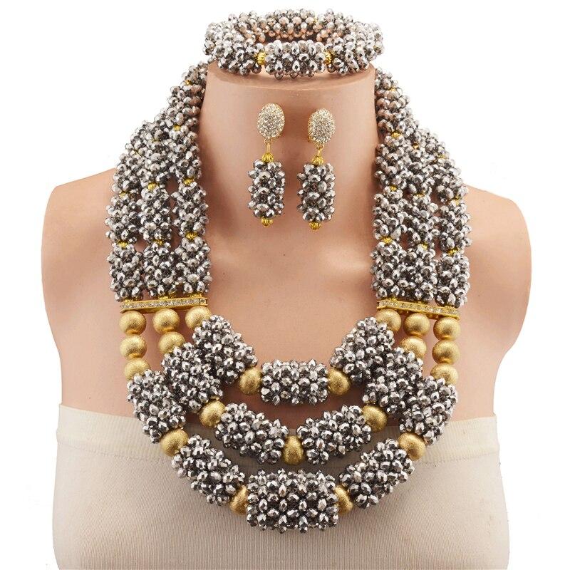 2018 mode Dubai couleur argent ensembles de bijoux Costume perles de cuivre conception mariage nigérian perles africaines ensembles de bijoux