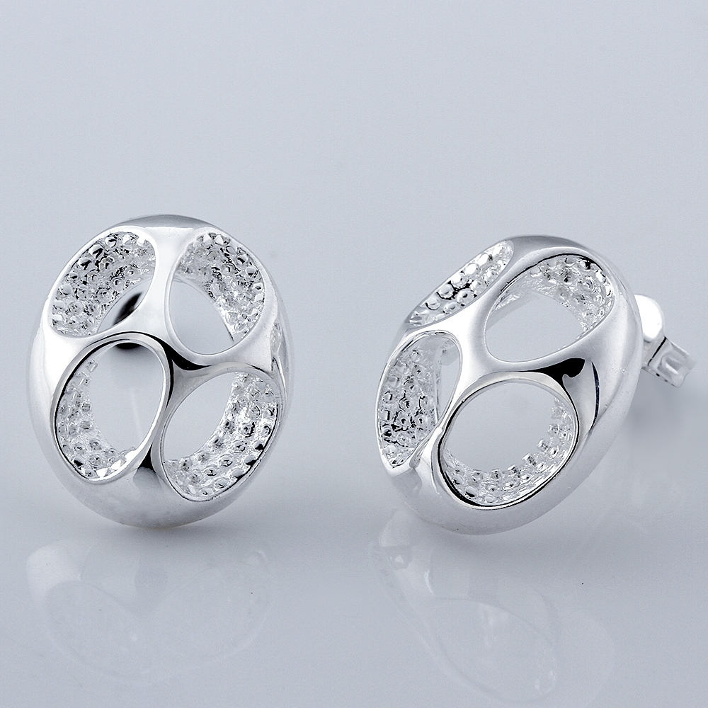 925sterling Silver Small Cute Big Four Hole Round Crystal Stone Earring Stud  Women Fine Fashion Trendy