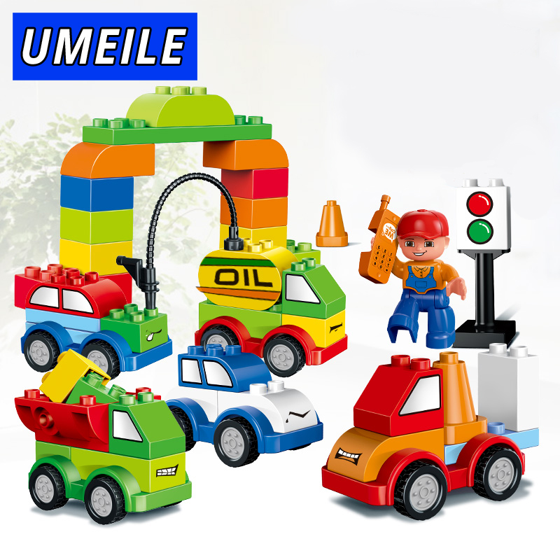 UMEILE Brand 52PCS Varied Bricks Set Car Gas Station Truck Crane Building Blocks Kids Toy Compatible with Duplo Christmas G umeile brand farm life series large particles diy brick building big blocks kids education toy diy block compatible with duplo