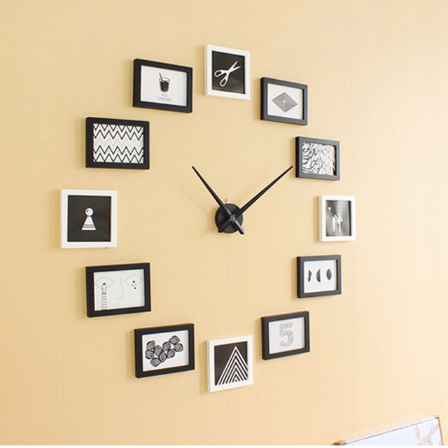 Creative Photo Frame Personality Needle Quartz Wall Clock Wooden