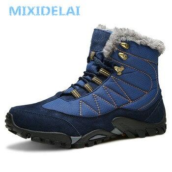MIXIDELAI 2018 caliente del invierno de botas de nieve zapatos de hombre para los hombres de moda de gamuza de vaca a la seguridad en el trabajo tobillo calzado zapatillas de deporte
