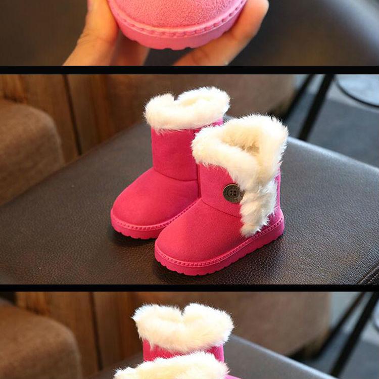 1_03Childrens boots, plush snow boots, non-slip, waterproof, warm, rubber, suede, boy, girl, children, shoes, outdoor thickening, winter