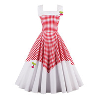 Sisjuly Vintage Dress 1950s Style Spring Red Plaid Patchwork Pin Up Party Dress Elegant Cute Cherry