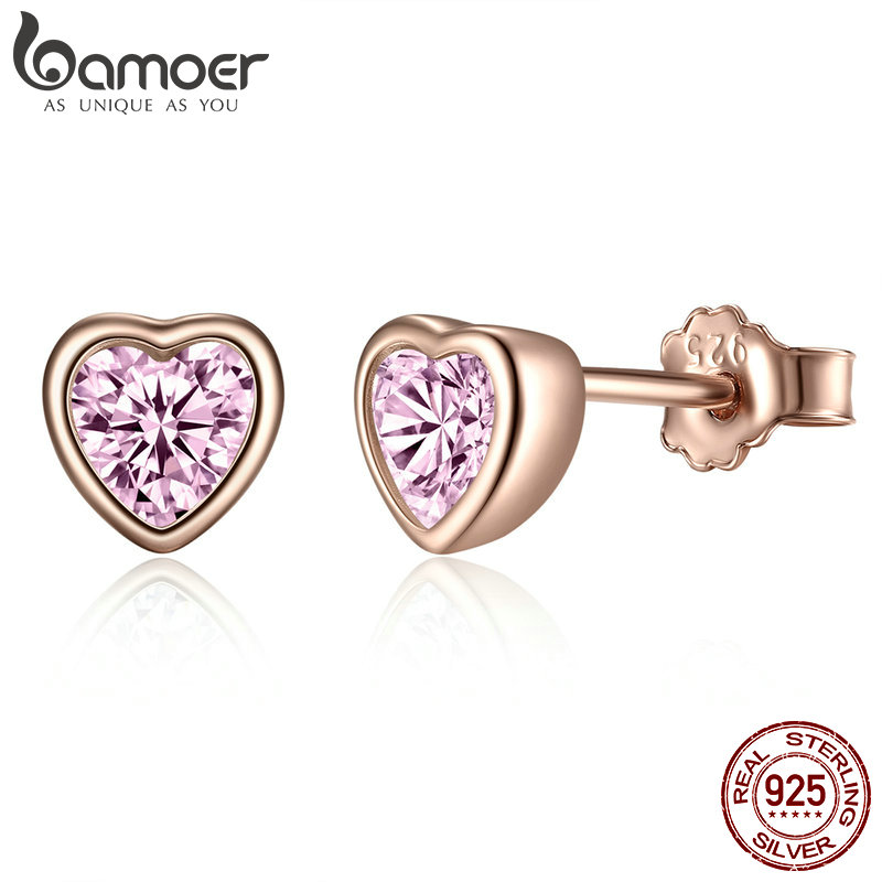 BAMOER 100% 925 Sterling Silver 3 Colors Heart Dazzling Pink CZ Stud Earrings for Women Sterling Silver Jewelry Gift PAS452-J цена