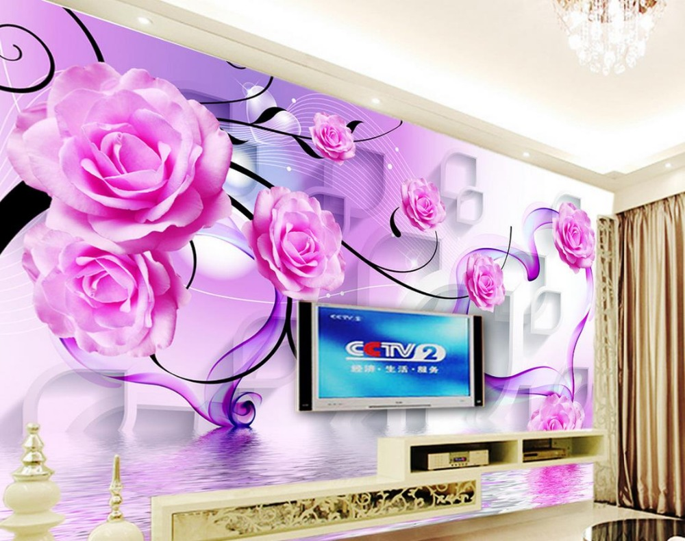 Large papel de parede decorative 3d wall panels murals wallpaper for - Aliexpress Com Buy 3d Wall Murals Wallpaper Rose Reflection Home Decoration Papel De Parede From Reliable Papel De Parede Suppliers On Picture In Picture