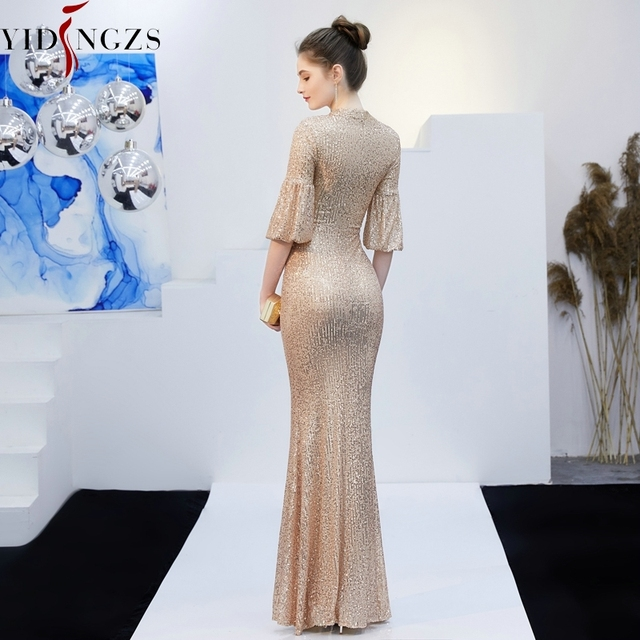 YIDINGZS Gold Sequins Evening Dress Hollow Out Elegant Mermaid Long Formal Party Dress 2