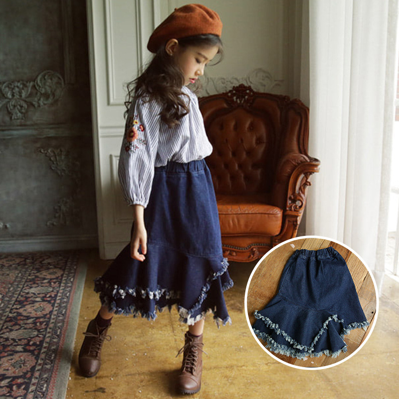 2019 tout nouveau enfant printemps automne enfant en bas âge enfants filles bleu Denim Spodnica déchiré jupe à volants frange Jeans jupe 10 12 13 14 ans