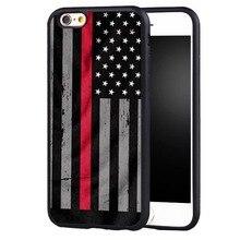 a26743035c1 Delgada línea roja americano nos diseño de bandera de silicona suave  protector completo de cubierta de la caja para iPhone 7 7X8.