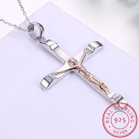 INALIS Catholic Church 925 Sterling Silver Jesus Cross Necklace Religion Crucifix Pendant Fine Jewelry For Men