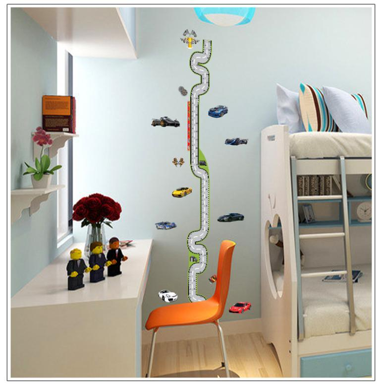 Cartoon race track height measure wall stickers for kids for Growth chart for kids room