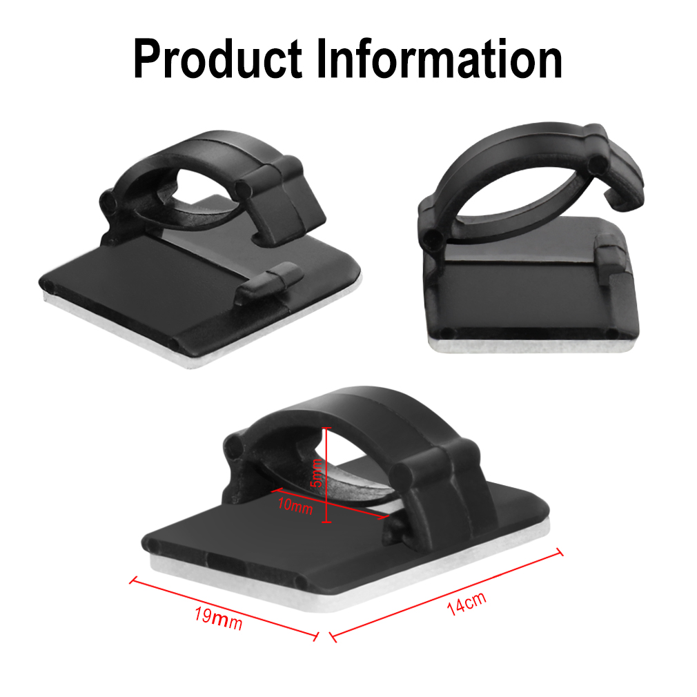 Image 2 - 100/50/10pcs Adhesive Car Cable Clips Cable Winder Drop Wire Tie Fixer Holder Cord Organizer Management Desk Cable Tie Clamps-in Auto Fastener & Clip from Automobiles & Motorcycles