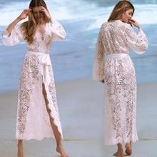 Womens Bikini Cover ups Swimwear Lace Floral Long Beach Dresses Swimsuits Bathing Suit M-XL