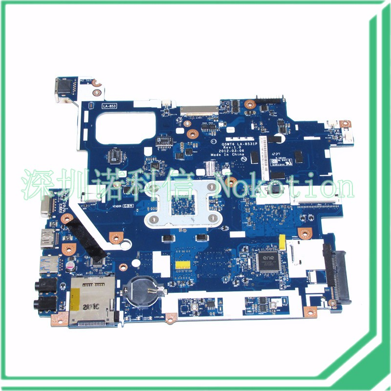 NOKOTION Laptop Motherboard For Acer Packard Bell E1-521 TE11BZ NBY1G11001 Q5WT6 LA-8531P Main board ddr3 nokotion q5wt6 la 8531p nb y1g11 002 nby1g11002 laptop motherboard for acer aspire e1 521 cpu onboard ddr3 warranty 60 days