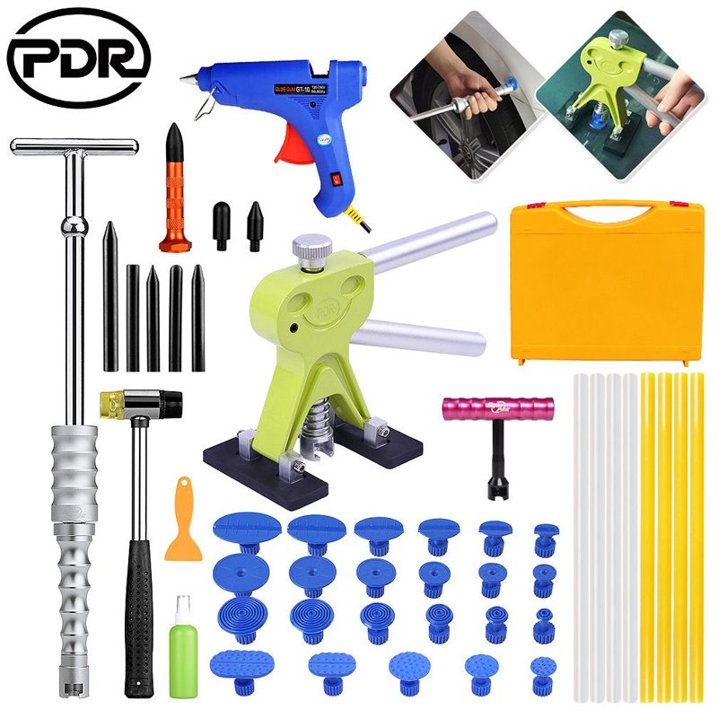 PDR Tools DIY Tool To Remove Dents Auto Repair Puller Kit Dent Lifter Glue Gun Suckers Hammer Glue Removal Tool Box pdr tool pdr brace tool b4