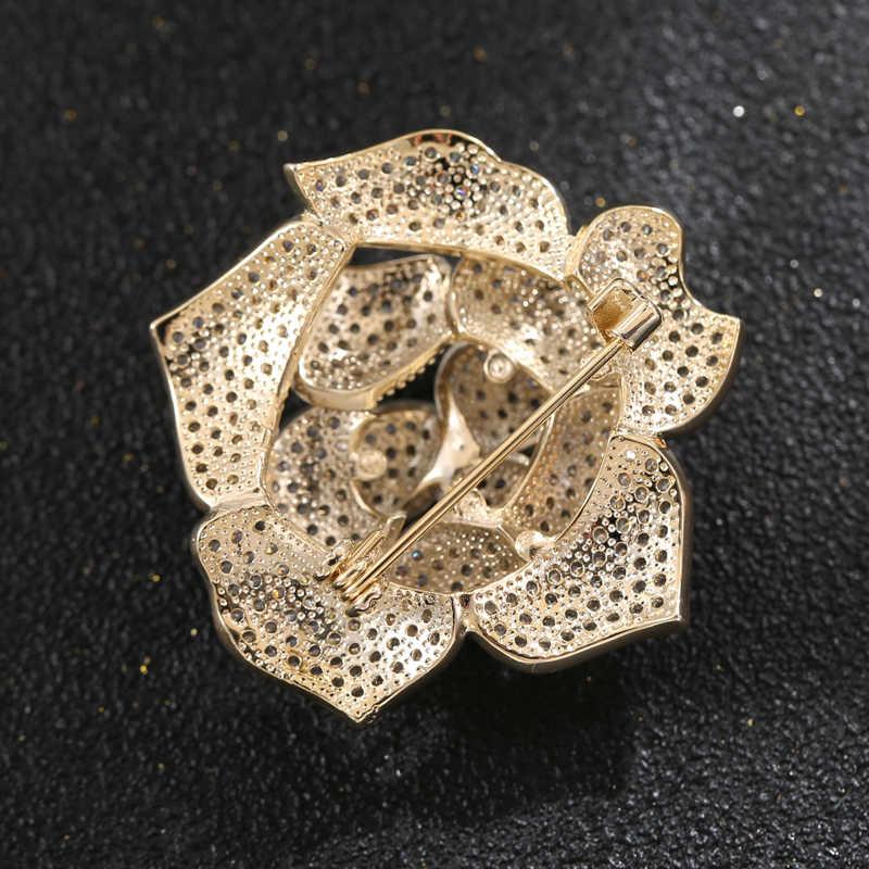 Cubic Zirconia Micro Pave Camellia Bunga Rhinestone Bros Pin Bros Mewah Crystal Bunga Bros Pin untuk Wanita Aksesori