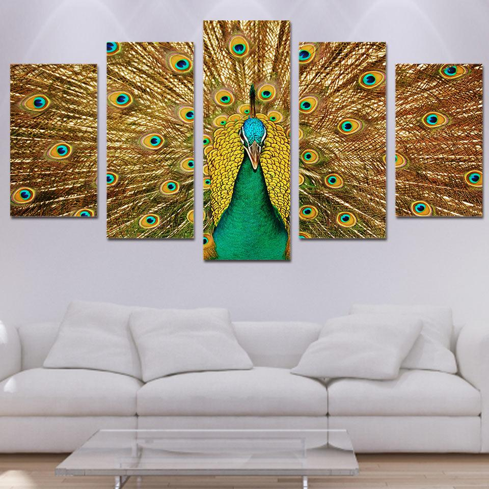 HD Printed Popular Painting Canvas Kids Room Decor 5 Panel Beautiful The Peacock Unframed Poster Modular Vintage Picture