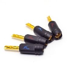HiFi MPS Shark 5 HiFi Speaker Banana Plugs pure copper Audio Jack Connector 24K gold Plated Amplifier Speaker connector