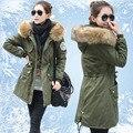 Casaco de algodão acolchoado longo, de inverno das mulheres amassado outerwear mulheres médio - exército verde gola de pele espessamento ocasional