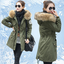 Women's  winter wadded jacket outerwear women medium-long Army Green fur collar casual thickening cotton-padded jacket