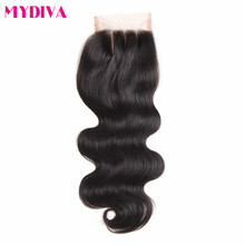 Mydiva Hair Three Part Lace Closure 100% Body Wave Hair With Closure Swiss Lace Remy Human Hair 1 Piece