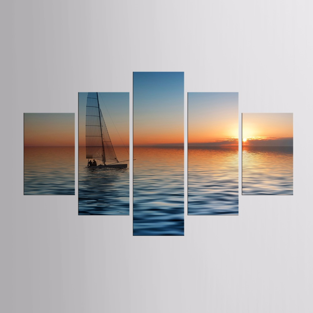 TOP Sale 5 Pieces/set Landscape sea sailing Wall Art For Wall Decor Home Decoration Picture Paint on Canvas Prints Painting