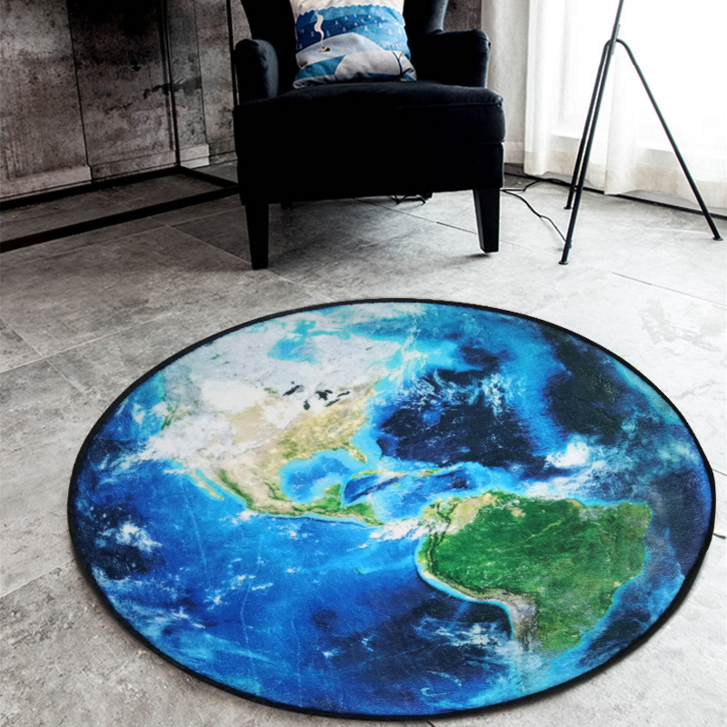 Round Carpet 3D Print Earth Planet Soft Carpets Anti-slip Rugs Computer Chair Mat Floor Mat for Kids Room Home Decor R603