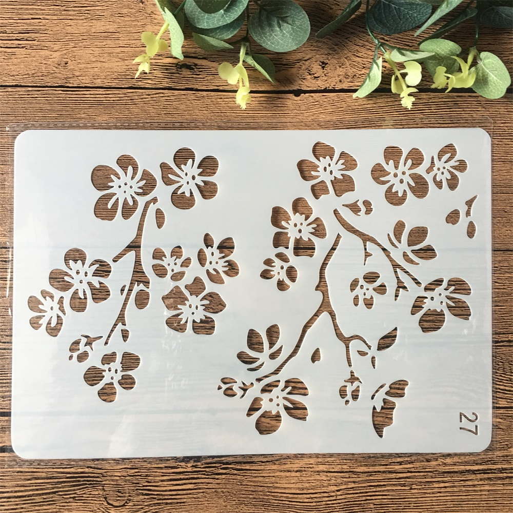 26cm Flower Branch DIY Craft Layering Stencils Painting Scrapbooking Stamping Embossing Album Paper Card Template