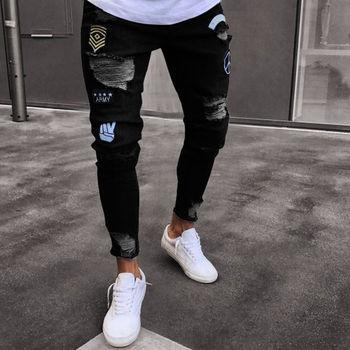 mens hole embroidered slim fit men denim pants