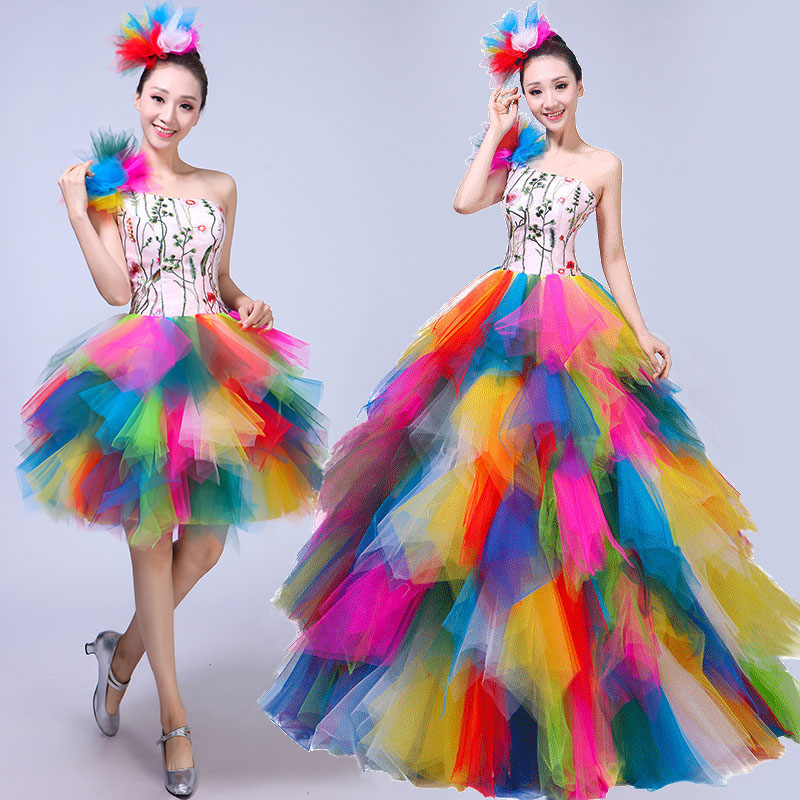 Modern dance costumes new color shoulder dress big skirt opening dance stage performance clothing adult female