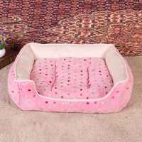 Hot Sales Dog Beds Dot Print Pink Cute Oet Mats Teddy Puppy Cat Sleeping Sofas Winter