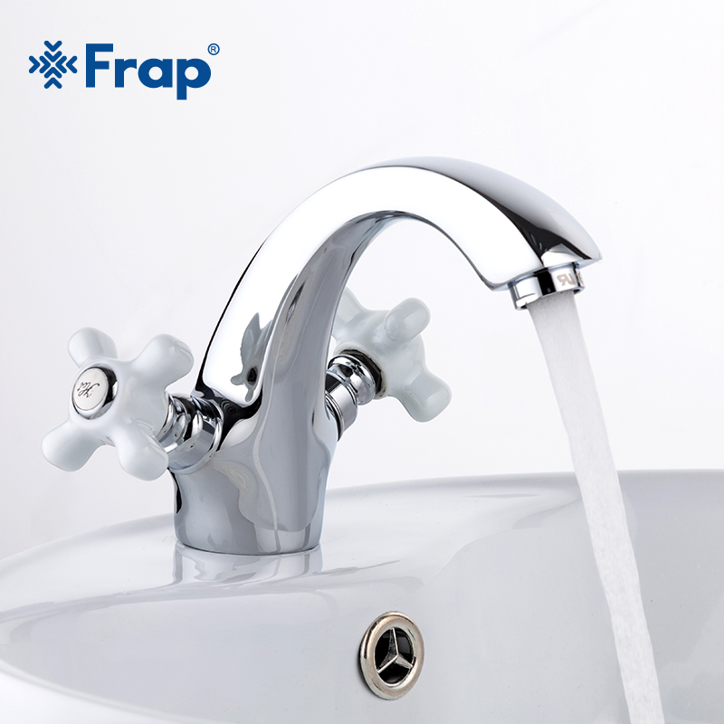 Frap Chromed BrassTwo-handle Restroom wash basin faucet Hot and cold switch isolated taps F1018