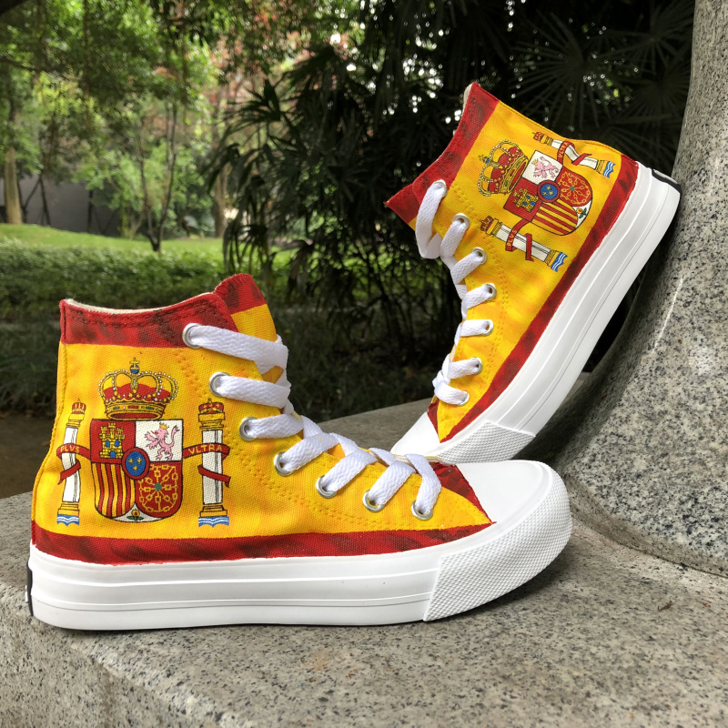 Wen Design Hand Painted Custom Shoes Spain Flag High Top Women Men's Canvas Sneakers Laced Skateboarding Shoes for Boy Girl men women converse puerto rico flag hand painted artwork high top canvas shoes unique sneakers