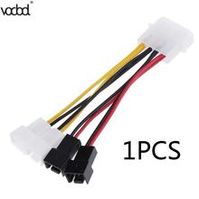 1pcs/lot Computer Cooling Fan Power Cables 4Pin Molex to 3Pin fan Power Cable Adapter Connector 12v*2/5v*2 for CPU PC Case Fan 2017 new 8cmx8cmx2 5cm new 3pin 12v computer pc cpu silent 8025 cooling case fan 7 blade pc cpu cooling fan black