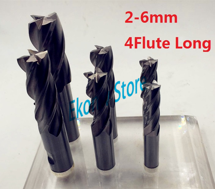 10pcs 2mm 3mm 4mm 5mm 6mm Extended lengthening Long four Four 4 Flute HSS End Mill Cutter CNC Bit Milling Cutter Extra Long 3 175 12 0 5 40l one flute spiral taper cutter cnc engraving tools one flute spiral bit taper bits