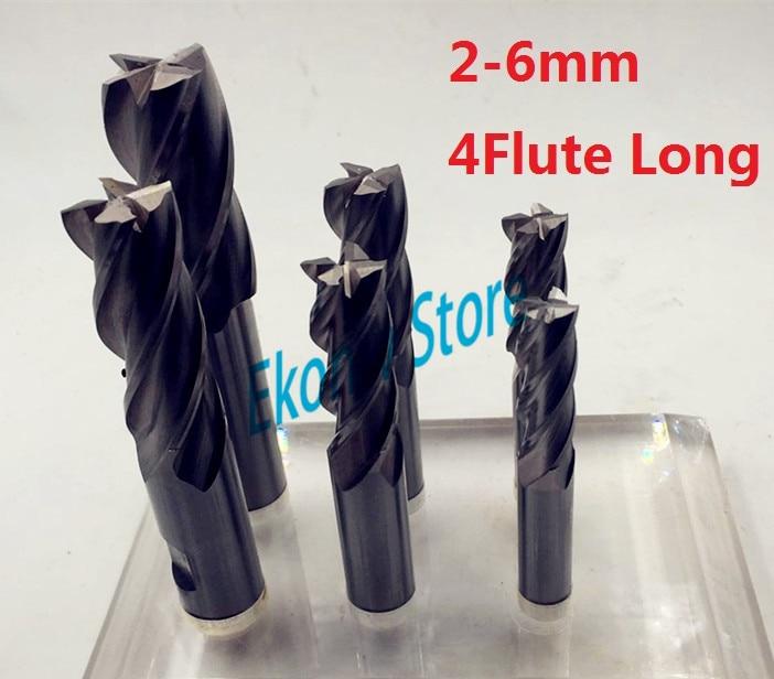 10pcs 2mm 3mm 4mm 5mm 6mm Extended lengthening Long four Four 4 Flute HSS End Mill Cutter CNC Bit Milling Cutter Extra Long 5pcs 2 flute extended end mill hss