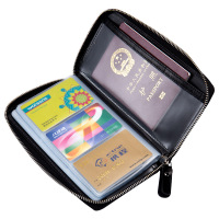 Genuine Leather Multi Functional Passport Bag Zipper Business Card Holders Wallet Long Style Hold 60 Cards