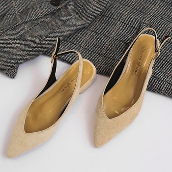 Women Flats Slingback Sandals Pointy toe quality Suede Ladies flat Shoes V Shallow Mules Fashion Female Nude Flat Sandals Work