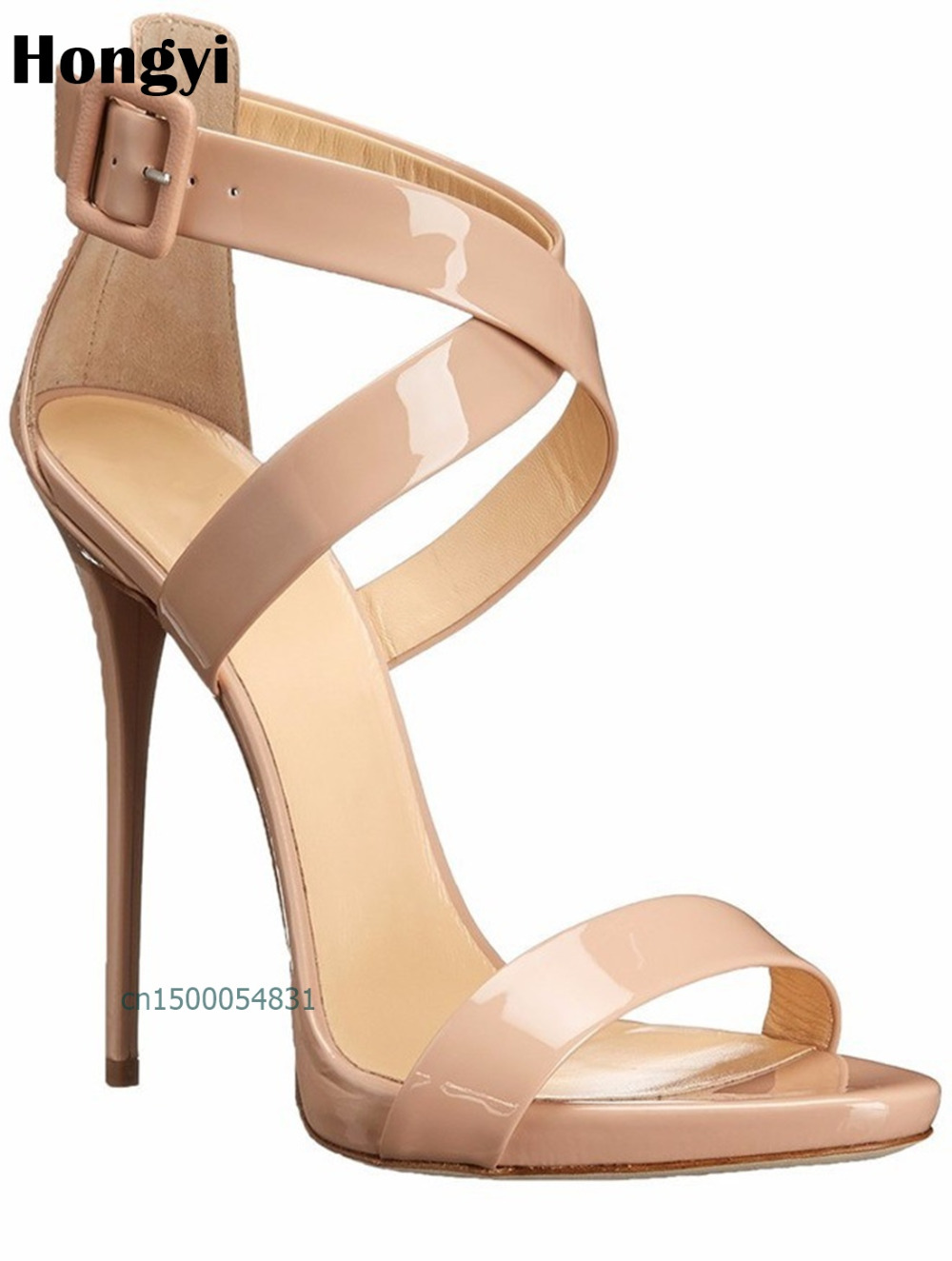 Hongyi Concise Nude Bright Shiny Leather High Heels Sandals Women Ankle Strap Summer Dress Shoes Woman Open Toe Sandals covibesco nude high heels sandals women ankle strap summer dress shoes woman open toe sandals sexy prom wedding shoes large size