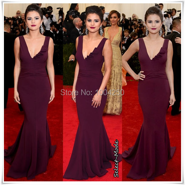 982b575096e Purple Selena Gomez Dress Met Gala Red Carpet Dress Sexy V-Neck Long  Mermaid Celebrity Dresses Evening Gown Prom Dress ACS010