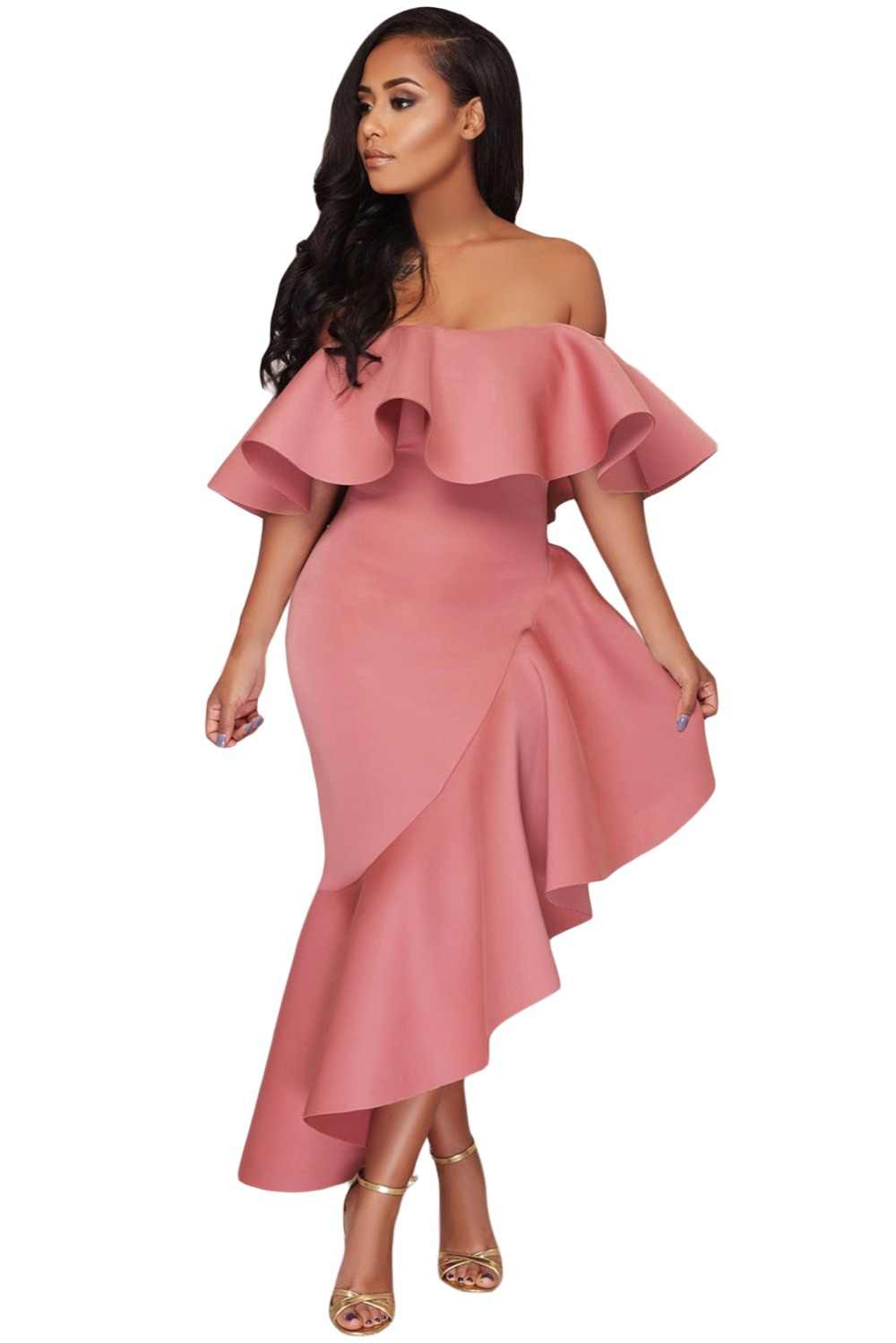 Zmvkgsoa Off Shoulder Party Dress Women Sexy Ladies Short Sleeve Asymmetric  Elegant Ruffle Dresses Vestidos Verano 922d8c35d02c